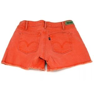 LEVI'S Cutoff Denim Shorts Orange Frayed Hem